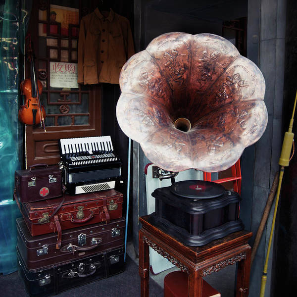 Market Square Photograph - Antique Victrola In Panjiayuan Flea by Design Pics / Keith Levit