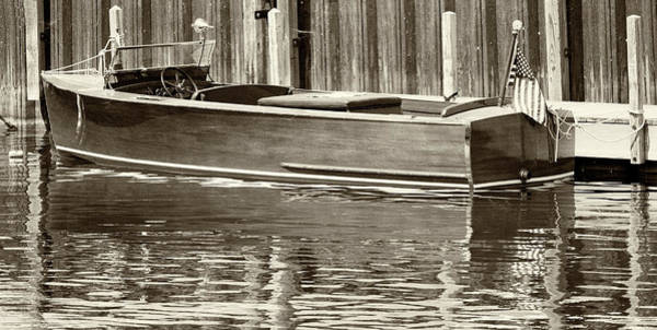 Photograph - Antique Wooden Boat By Dock Sepia Tone 1302tn by Rick Veldman