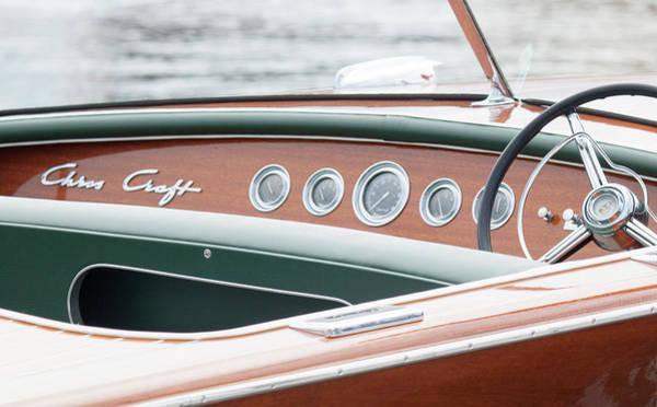 Photograph - Antique Wooden Boat Dashboard 1306 by Rick Veldman