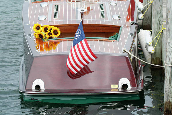 Photograph - Antique Wooden Boat With Flag And Flowers 1304 by Rick Veldman