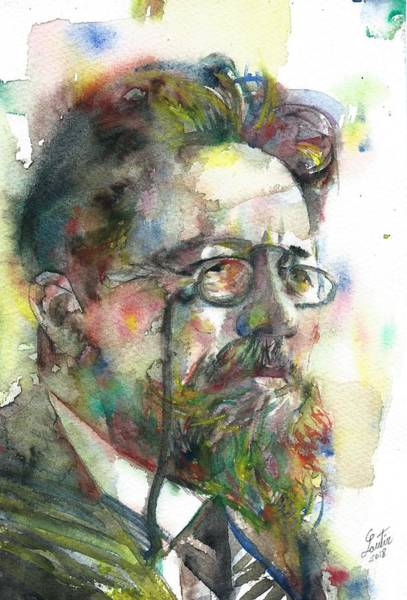 Wall Art - Painting - Anton Chekhov - Watercolor Portrait.7 by Fabrizio Cassetta