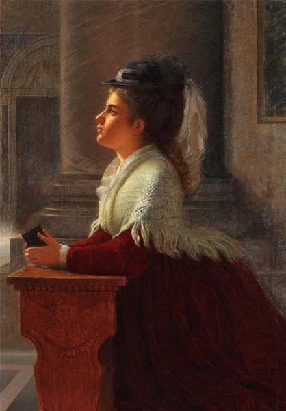 Wall Art - Painting - Anton Thiele Danish, 1838-1902,  The Prayer by Anton Thiele