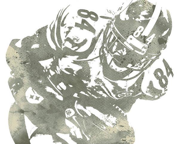Wall Art - Mixed Media - Antonio Brown Pittsburgh Steelers Water Color Art 15 by Joe Hamilton