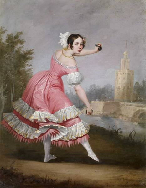 Wall Art - Painting - Antonio Cabral Bejarano A Bolero Dancer 1842 by Antonio Cabral Bejarano