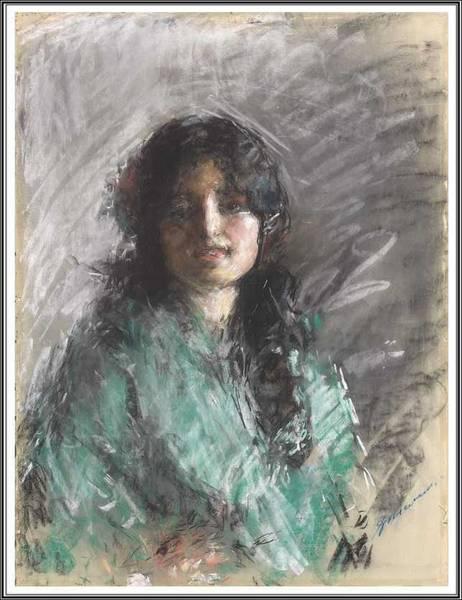 Wall Art - Painting - Antonio Mancini 1852-1930, Young Woman. by Antonio Mancini