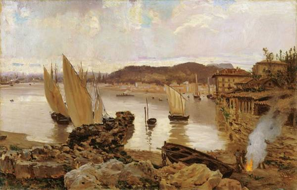 Wall Art - Painting - Antonio Munoz Degrain The Port Of Bilbao 1900 by Celestial Images