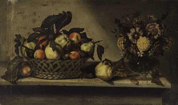 Wall Art - Painting - Antonio Ponce  Valladolid 1608-after 1662   A Basket Of Apples And Quinces And Flowers In A Glass V by Celestial Images