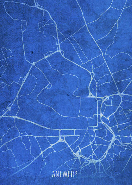 Belgium Mixed Media - Antwerp Belgium City Street Map Blueprints by Design Turnpike