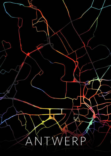 Belgium Mixed Media - Antwerp Belgium Watercolor City Street Map Dark Mode by Design Turnpike