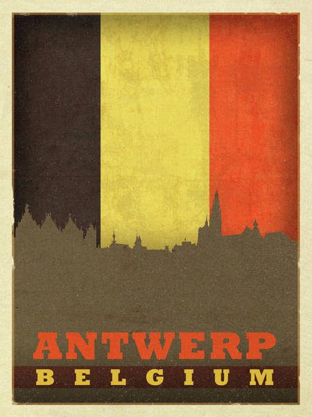 Belgium Mixed Media - Antwerp Belgium World City Flag Skyline by Design Turnpike