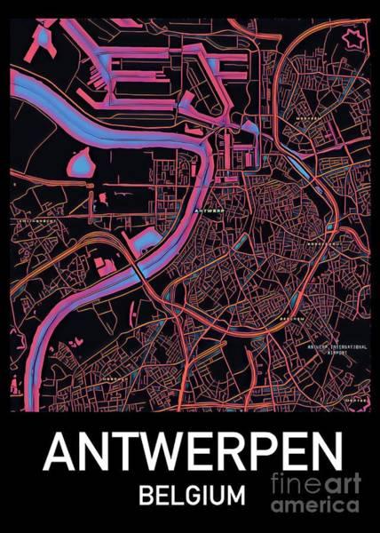 Digital Art - Antwerp City Map by Helge