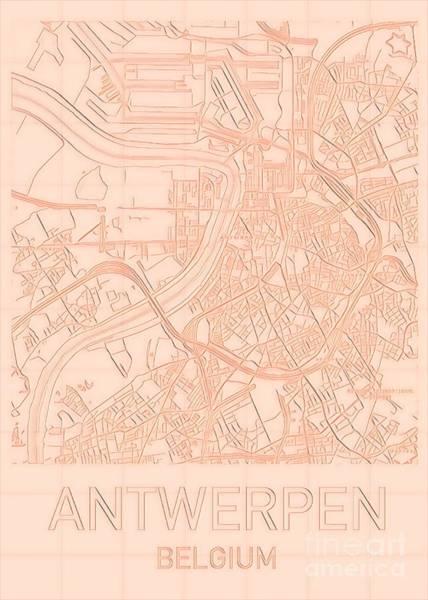 Digital Art - Antwerp Blueprint City Map by Helge