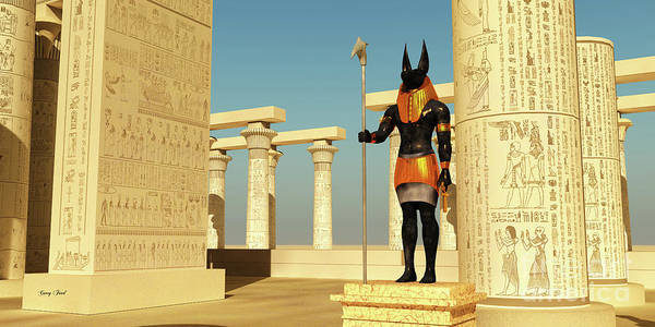 Wall Art - Digital Art - Anubis Statue In Temple by Corey Ford