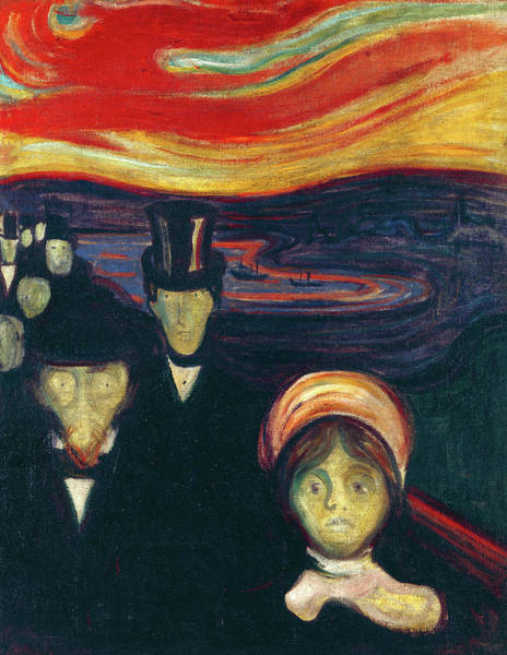 Wall Art - Painting - Anxiety, 1894 by Edvard Munch