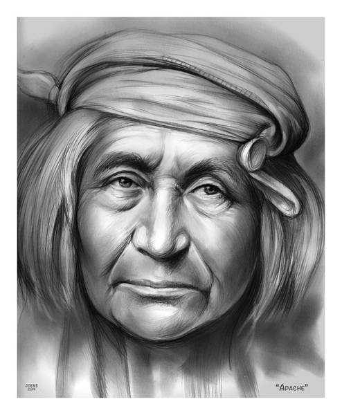 Native American Wall Art - Drawing - Apache by Greg Joens
