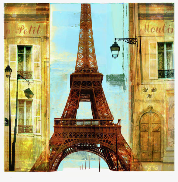 Digital Illustration Digital Art - Apartments And Eiffel Tower by Mike Moran