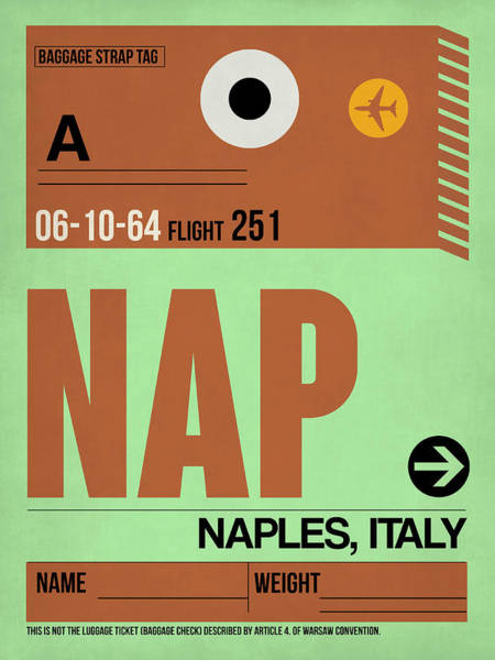 Wall Art - Digital Art - Apf Naples Luggage Tag I by Naxart Studio