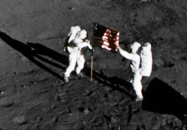 Photograph - Apollo 11, American Flag On The Moon by Science Source