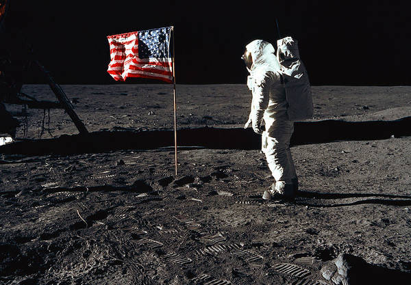 Photograph - Apollo 11, Buzz Aldrin And Flag by Science Source