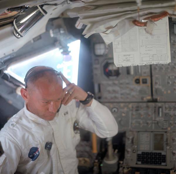 Wall Art - Photograph - Apollo 11, Buzz Aldrin Inside Lunar by Science Source