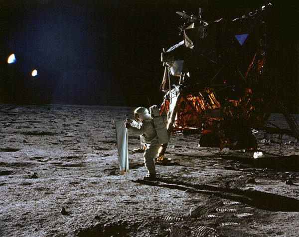 Photograph - Apollo 11, Buzz Aldrin, Solar Wind by Science Source