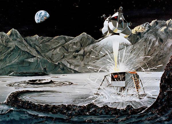 Wall Art - Photograph - Apollo 11, Lunar Module Ascent, Artist by Science Source