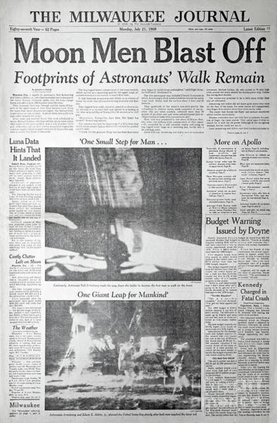 Photograph - Apollo 11 Newspaper Coverage by Kevin McCarthy
