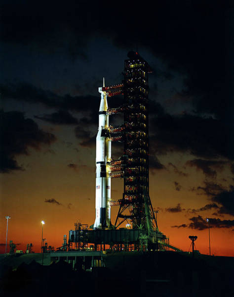 Wall Art - Photograph - Apollo 4 Saturn V Rocket On Launchpad - 1967 by War Is Hell Store