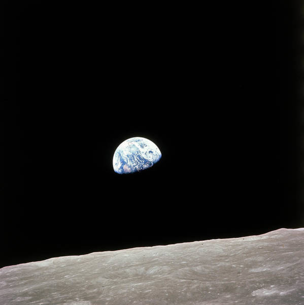 Photograph - Apollo 8 View Of Earth Rise Over The Moo by Time Life Pictures