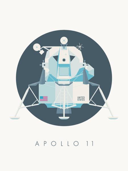 Wall Art - Digital Art - Apollo Lunar Module Lander Minimal - Text Charcoal by Ivan Krpan