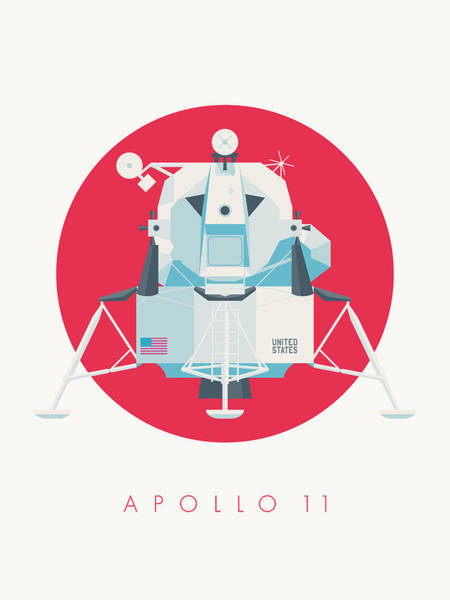 11 Wall Art - Digital Art - Apollo Lunar Module Lander Minimal - Text Crimson by Ivan Krpan