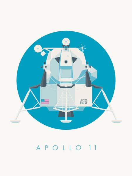 Apollo Wall Art - Digital Art - Apollo Lunar Module Lander Minimal - Text Cyan by Ivan Krpan