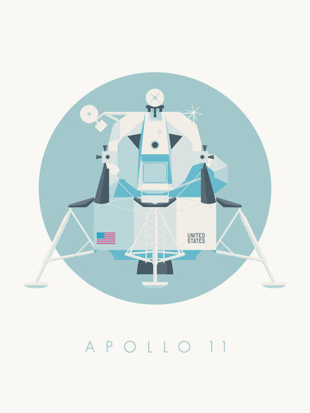 11 Wall Art - Digital Art - Apollo Lunar Module Lander Minimal - Text Sky by Ivan Krpan