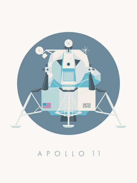 11 Wall Art - Digital Art - Apollo Lunar Module Lander Minimal - Text Slate by Ivan Krpan
