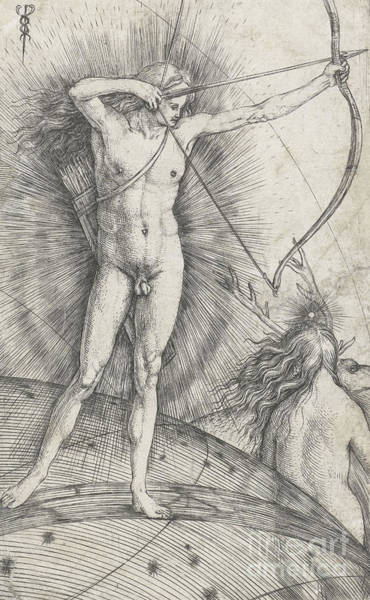 Full Length Drawing - Apollo With Bow And Arrow On Celestial Globe And Diana With Deer by Jacopo de Barbari