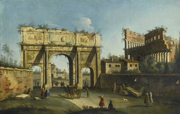 Wall Art - Painting - Apollonio Facchinetti - Rome, A View Of The Arch Of Constantine And The Colosseum  1741  by Celestial Images