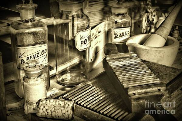 Wall Art - Photograph - Apothecary-vintage Pill Maker Sepia by Paul Ward