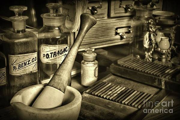 Wall Art - Photograph - Apothecary-vintage Pill Roller Sepia by Paul Ward