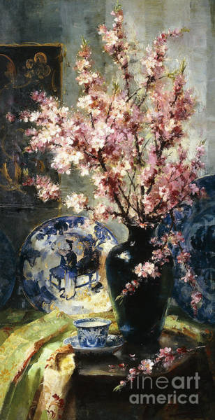 Wall Art - Painting - Apple Blossoms And Blue And White Porcelain On A Table by Frans Mortelmans