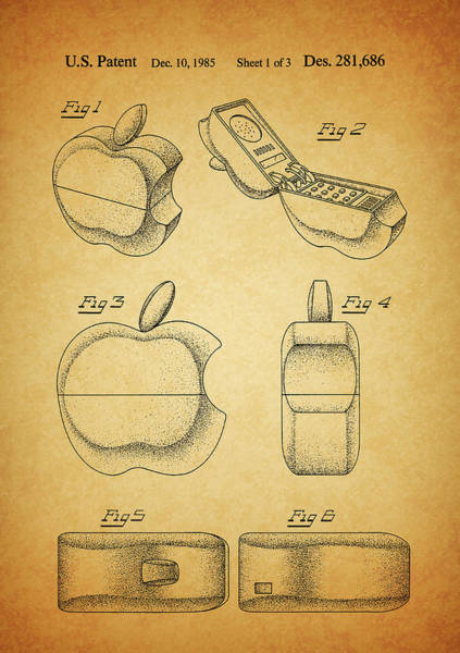 Drawing - Apple Cellphone Patent by Dan Sproul
