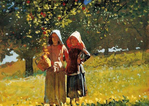Wall Art - Painting - Apple Picking  Two Girls In Sunbonnets Or In The Orchard  Winslow Homer by Celestial Images