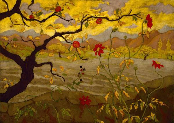 Wall Art - Painting - Apple Tree With Red Fruit,   Paul Ranson by Celestial Images