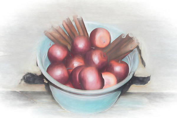 Mixed Media - Apples And Cinnamon Sticks by Pamela Walton