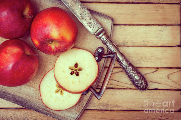 Wall Art - Photograph - Apples On Rustic Chopping Board by Amanda Elwell
