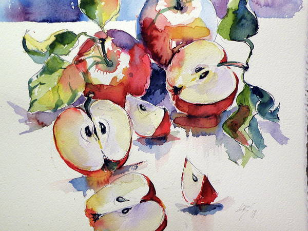 Wall Art - Painting - Apples On Table Cd by Kovacs Anna Brigitta