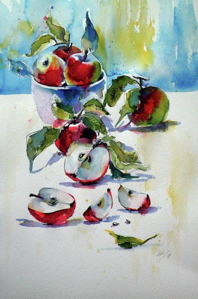 Wall Art - Painting - Apples On Table II by Kovacs Anna Brigitta