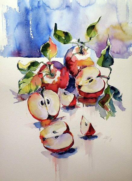 Wall Art - Painting - Apples On Table by Kovacs Anna Brigitta