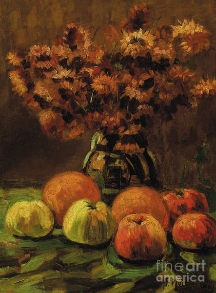 Wall Art - Painting - Apples, Oranges And A Vase Of Flowers On A Table  by Frans Mortelmans
