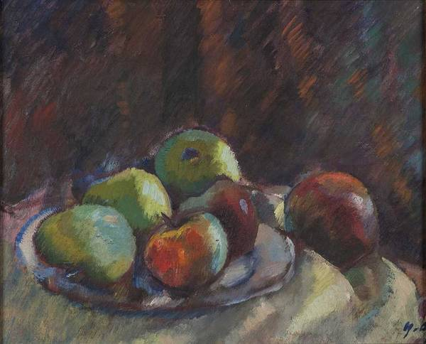 Wall Art - Painting - Apples Still-life By Yrjo Ollila by Celestial Images