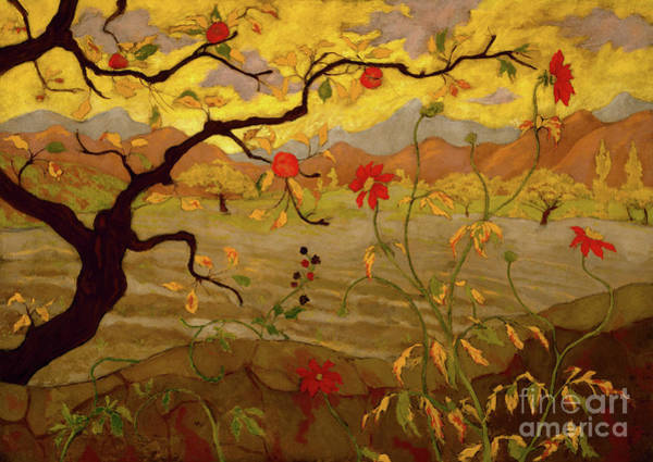 Wall Art - Painting - Appletree And Red Fruit by Paul Ranson